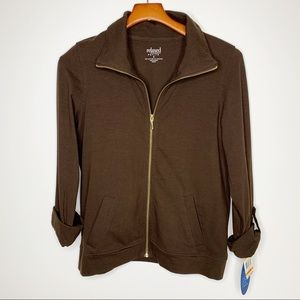 CHARTER CLUB Relaxed Brown Zip Front Jacket SP NWT